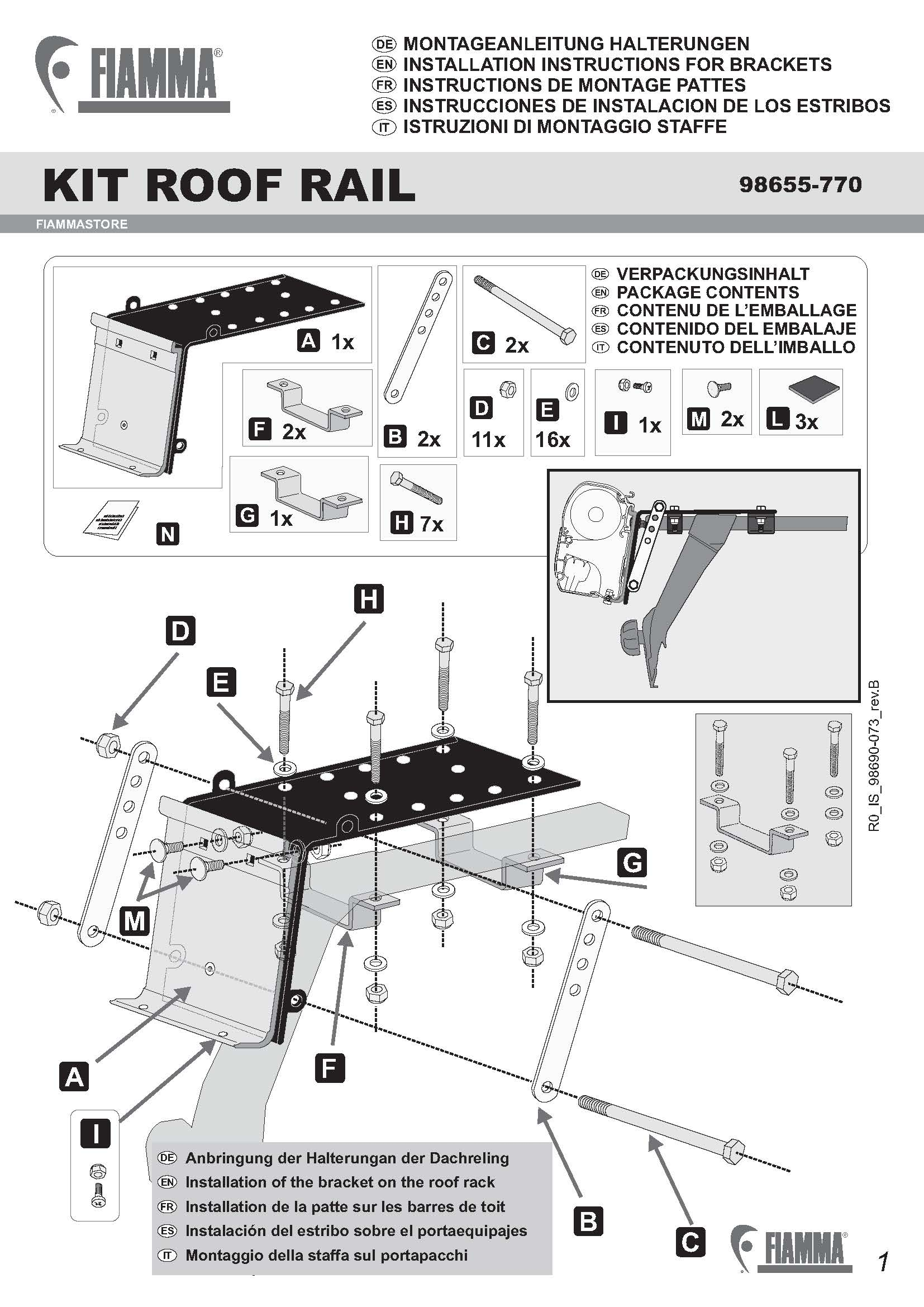 18005 Fiamma F45 Fitting Kit Roof Bar Kit 1 Bracket